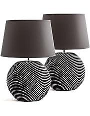 BRUBAKER Zestaw 2 lamp stołowych lub nocnych Zen Garden antracyt szary - Ceramiczne nóżki w dwukolorowym, matowym wykończeniu - wysokość 38 cm