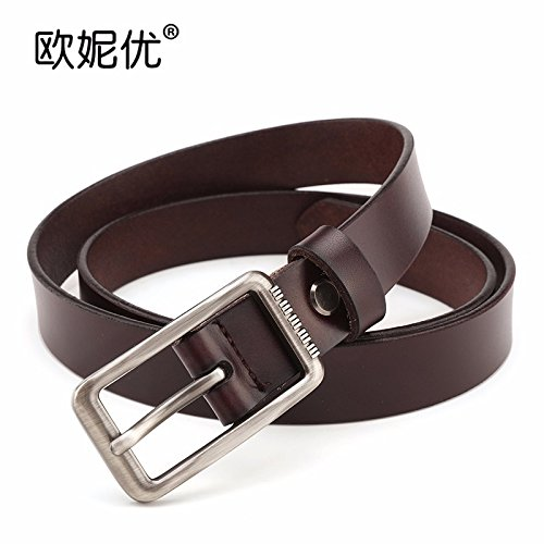 XINQING 2018 The New Female Leather Jeans Belt Simple Decoration Fashion Lady Cow Leather Belt Leisure Coffee 115cm ()