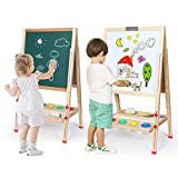 Kids Easel Double-Sided Magnetic Whiteboard & Chalkboard Multiple-Use Easel with Bonus Magnetics, Numbers