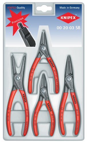 (KNIPEX 00 20 03 SB 4 Piece Precision Circlip Snap-Ring Pliers Set)