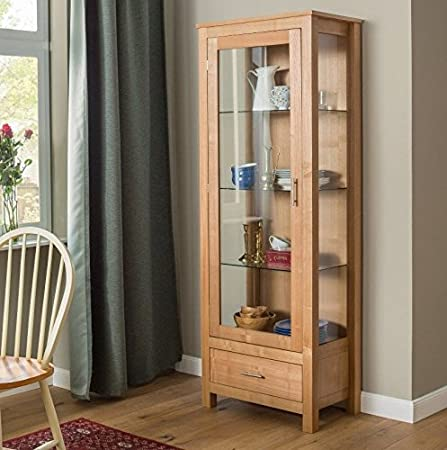 Glass Display Cabinet Solid Wood Furniture Oak Large Cupboard Tall