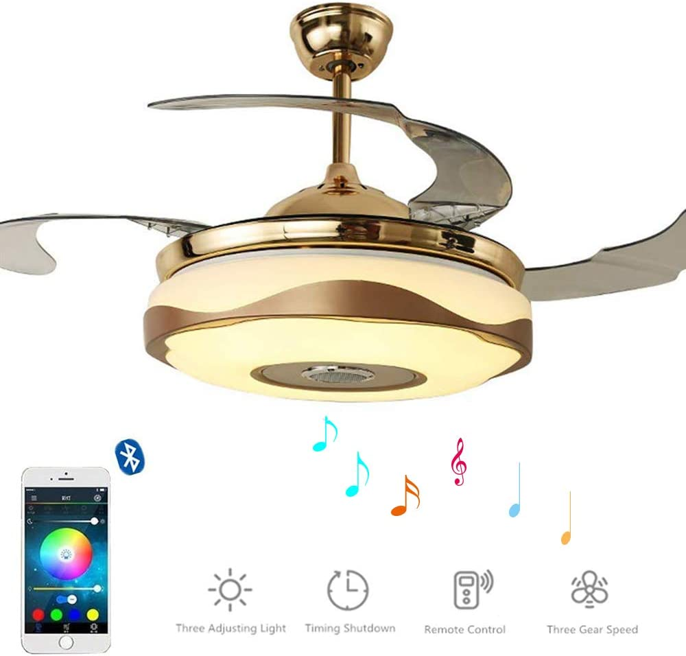 MoreChange 36 inch Smart Bluetooth Ceiling Fan with Light and 7 Colorful Lights, Retractable Chandelier Fans with Remote Control 3 Color Level and Speaker for Bedroom 36in-Gold