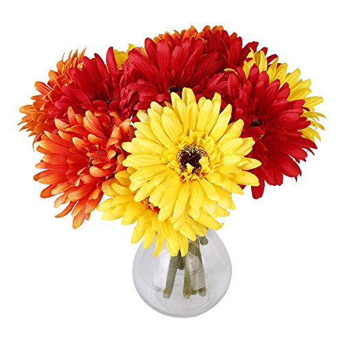 6PCS Artificial Flowers, 8.7'' Gerbera Daisies Silk Flowers Realistic Real Touch Fake Daisy Mum Flowers Chrysanthenum,Sunflowers Bouquet With Flocking Stems Gerber Daisy Fall Flowers for Home Decor