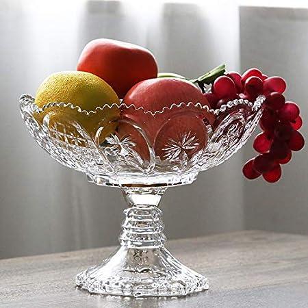 T-JMGP Plato de frutas Pelea de frutas Copa de cristal alta frutero moderno hogar mesa de centro ktv plato de fruta plato de fruta seca plato de caramelo, calibre 22.5 altura 18 cm