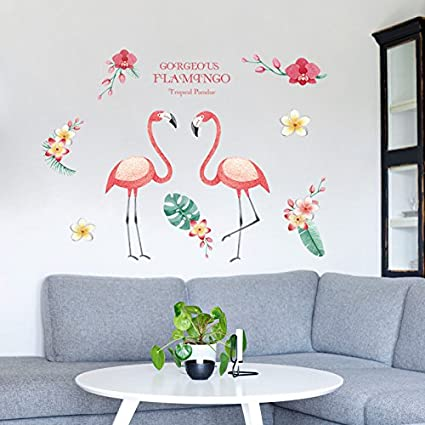 Amazon.com: Sherobin Flamingos Wall Art Decal Removable Stickers ...