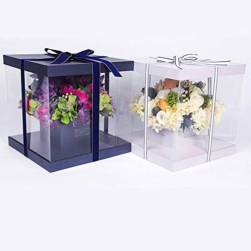8 L H Pink 8 BBC Handled Flower Paper Box Florist Bouquet Gift Packaging 1 Pcs inch 16 W