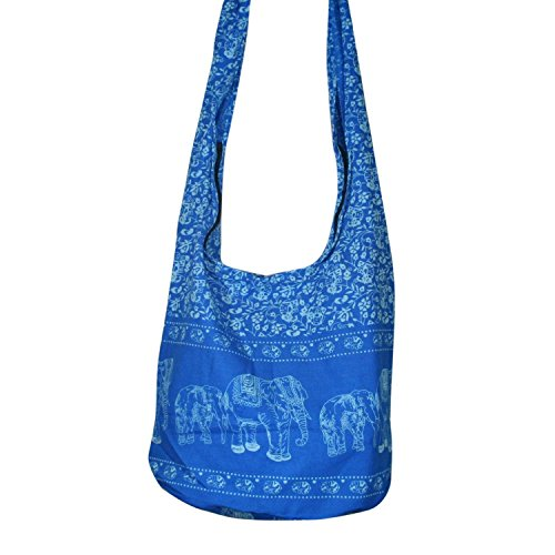 Thai Hobo Hippie Elephant Sling Crossbody Bag Purse Thai Top Zip Handmade New Color Light Sky Blue.