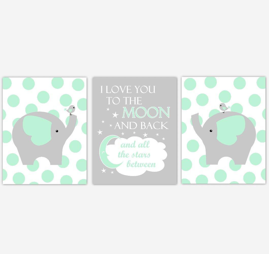 Mint Green Elephants Baby Nursery Art Prints I Love You To The Moon Safari Animals Baby Nursery Decor SET OF 3 UNFRAMED PRINTS