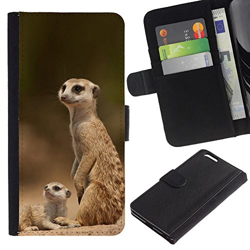 OMEGA Case / Apple Iphone 6 PLUS 5.5 / The Meerkat Family / Cuir PU Portefeuille Coverture Shell Armure Coque Coq Cas Etui Housse Case Cover Wallet Credit Card