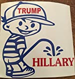 Trump Peeing On Hillary Decal, H 6 By L 6 Inches, (Blue and Red) Please Message Us For More Colors