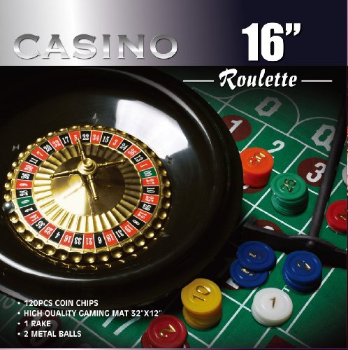 - CASINO 16-Inch Roulette Wheel Game Set with 120 chips, Felt Layout, and Rake
