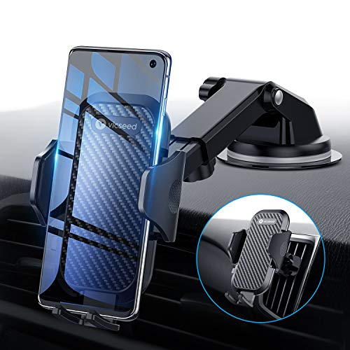Universal Car Phone Mount VICSEED Car Phone Holder for Car Dashboard Windshield Air Vent Adjustable Long Arm Strong Suction Cell Phone Car Mount Fit for iPhone X XS Max XR (Best Mobile Phone Car Mounts)
