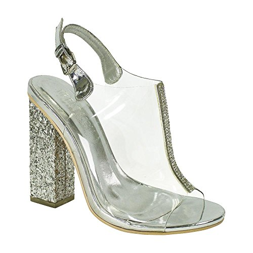 De Blossom Collection Mujeres Party Dressy Clear Lucite Rhinestone Chunky Block Glitter Peep Toe Tacón Plata Plata