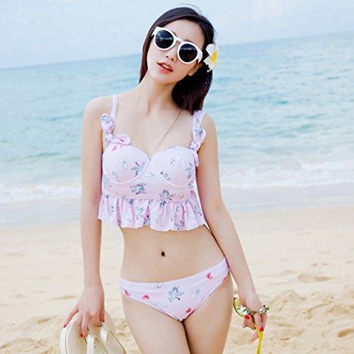 Trajes de Baño de Mujeres Baño Pequeño - Bandeja de Acero Recoge Falda - Estilo Bikini Triangular Traje de Baño de Tres Piezas Pink