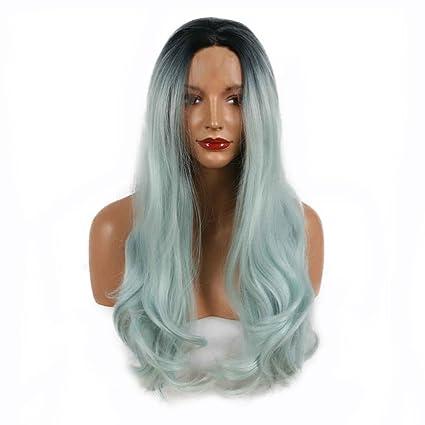 Peluca de cabello natural con raíces oscuras y dos tonos de color azul pastel, resistente