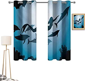 """1GShophome Underwater Window Decoration Curtains The Mermaid and Dolphins Underwater View Travel Diving Fin Sea Life Black Out Curtains Blue Black Petrol Blue 63""""x 45"""""""
