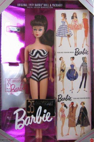 بازتولیدی از باربی اصلی ساخت سال 1959 همراه با عروسک و پکیج به مناسبت 35 سالگرد تولید باربی محصول Barbie. |