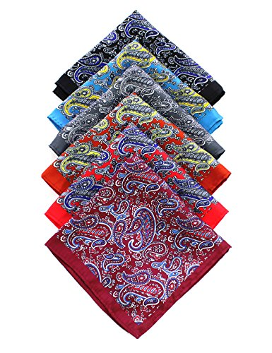 JEMYGINS 6PCS Red Burgundy Black Blue Paisley Silk Pocket Squares for Men Handkerchief Hanky Set ()