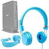 DURAGADGET Blue Ultra-Stylish Kids Fashion Headphones For NEW Acer Chromebox CXI