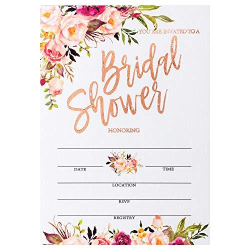 (Crisky Rose Gold Foil Bridal Shower Invitation with Envelopes, Bridal Shower Invite, Wedding Shower Invitations, Package of 25)