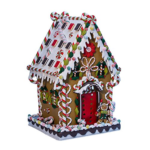 (Kurt Adler J3579 Claydough and Metal Cookie and Candy Lighted House Decoration, 13-1/4-Inch)