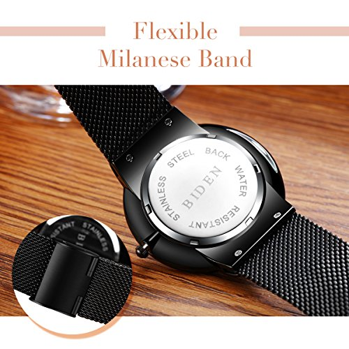 Watch,Watches Men ,Stainless Steel Classic Luxury Business Casual Watches Waterproof Multifunctions Quartz Milanese Mesh Band Wrist Watch (Black)
