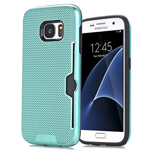 Samsung Galaxy S7 Funda Case, TOTOOSE Patrón de tela Escocesa Caja del teléfono Celular Antideslizante Protector Shell con Ranuras para Tarjetas para Samsung Galaxy S7 Verde Verde