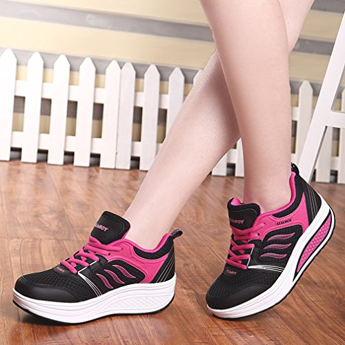 Sneakers Platform Outdoor Running Women's Athletic 4 Solshine Trainers Shoes Black Wedge Go Walking wETIqvnq0r