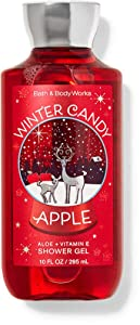 Bath and Body Works Body Care - Full Size Shower Gel Aloe + Vitamin E - 10 fl oz - Winter Candy Apple