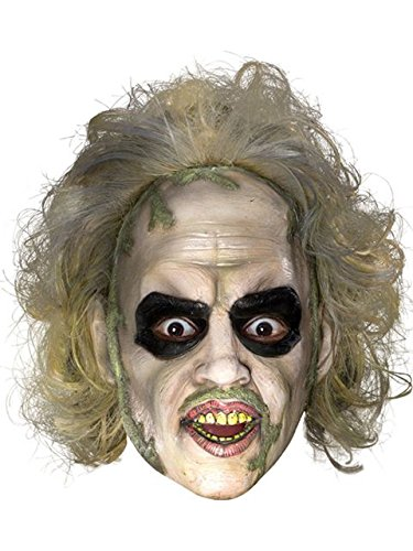 Beetlejuice 3/4 Vinyl Mask w/Hair Costume - -