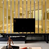 ZJCilected Set of 10 3D Rectangle Mirror Wall Stickers DIY Acrylic Home Decor Decal, Gold