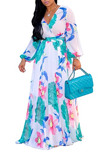 shekiss Women's Sexy V-Neck Floral Long Sleeves Chiffon Flowy Maxi Dresses Prom Party with Belt