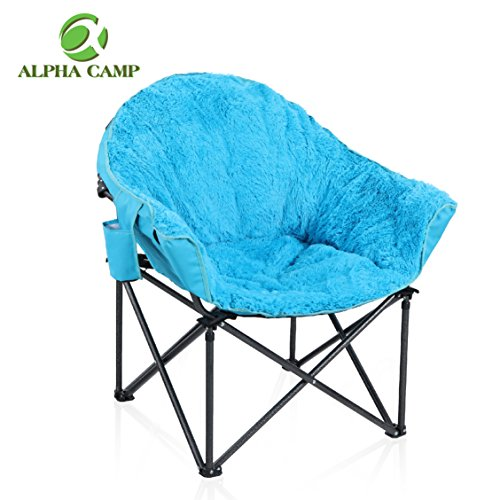 ALPHA CAMP Plush Moon Saucer Chair with Carry Bag – Supports 350 LBS, Blue