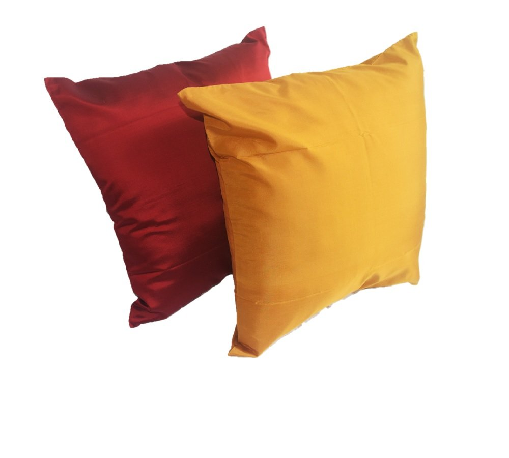Lotus House Red & Gold Silk Pillow Case Set by Lotus House