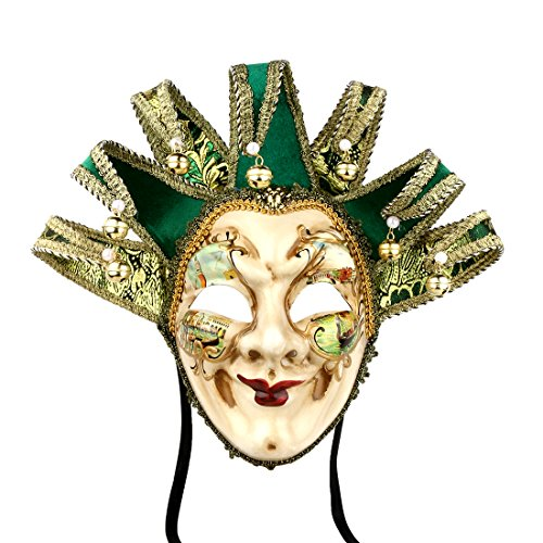 Full Face Venetian Jester Mask Masquerade Green Hand Painted Joker Wall Decorative Art Collection ()