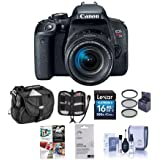 Canon EOS Rebel T7i DSLR EF-S 18-55mm f/4-5.6 IS STM Lens - Bundle Camera Case, 16GB SDHC Card, 58mm Filter Kit, Screen Protector, Cleaning Kit, Memory Wallet, Pc Software Package