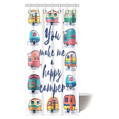 INTERESTPRINT Camper Shower Curtain, You Make Me Happy Camper Motivational Quote with Caravans Retro Style Travel Graphic Bathroom Shower Curtain with Hooks, 36 X 72 Inches