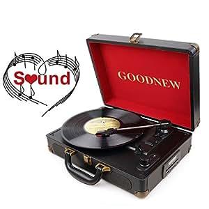 GOODNEW 3-Speed Vinyl Suitcase Turntable (black)