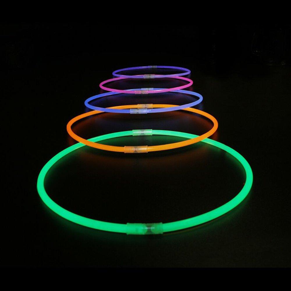 200 Pcs 11'' Glow Sticks Necklaces Pack - Light up Toys Glowsticks Bracelets Assorted Colors In The Dark Light Sticks by Novelinks (Image #7)