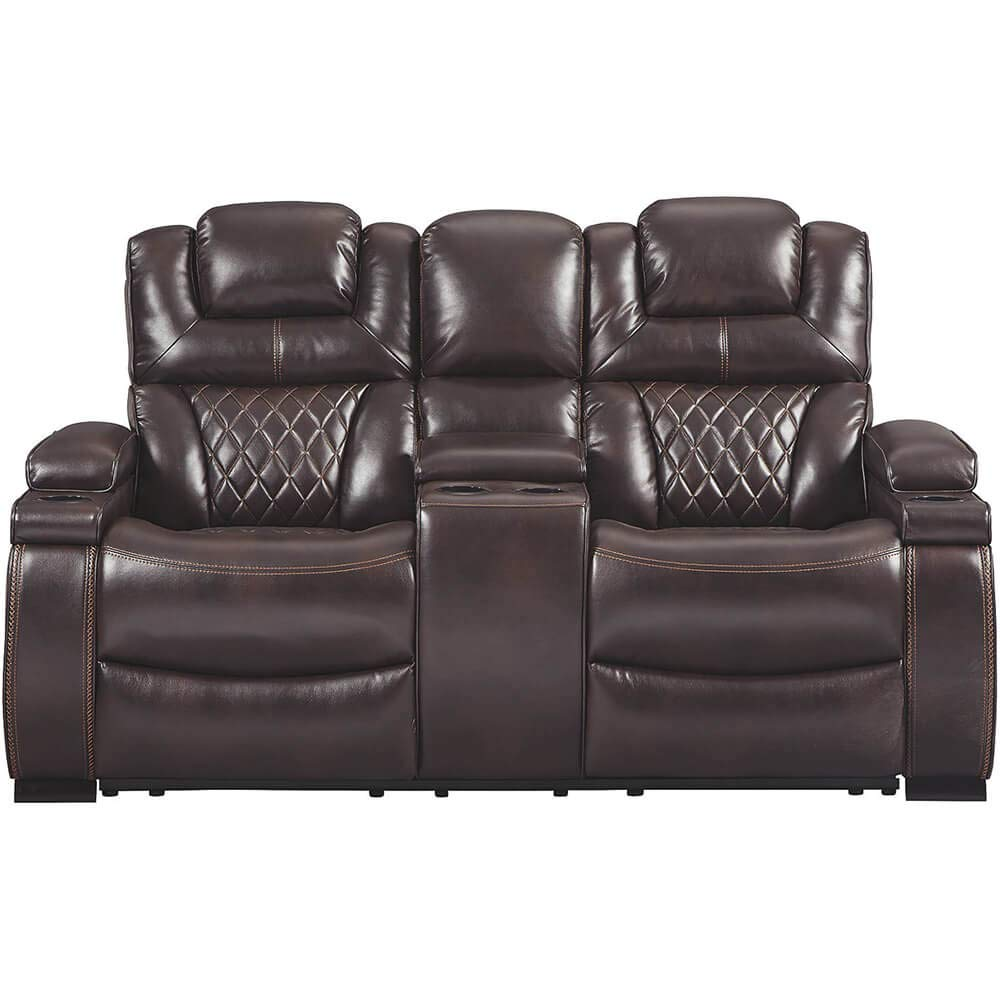 Signature Design by Ashley Warnerton Power Reclining Loveseat with Console, Chocolate by Signature Design by Ashley