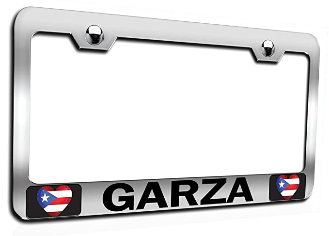 Amazon.com: Makoroni   GARZA Puerto Rico Rican Ch Steel Auto SUV License  Plate Frame, License Tag Holder: Automotive