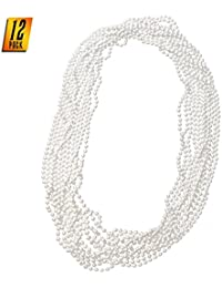 Faux White Pearl Necklaces - Pearl Beaded Necklace Party Favors - 12Pk