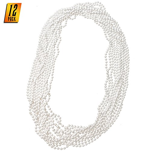 Skeleteen Faux White Pearl Necklaces - Pearl Beaded Necklace Party Favors - 12Pk (Pearl Small Faux)