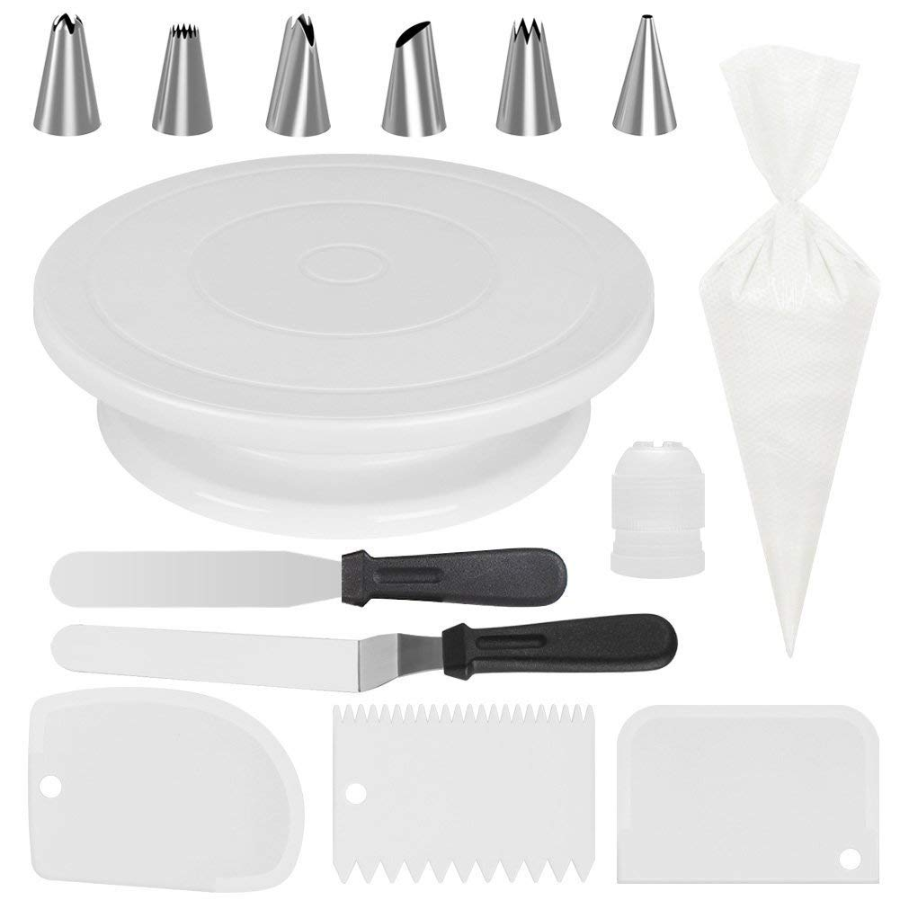 JHKJ Cake Turntable Set Baking Tool DIY Tool Cake Decorating Kit Supplies,with 50 Disposable Pastry Bags