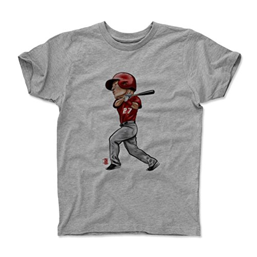500 LEVEL's Mike Trout Youth & Kids T-Shirt 4-5Y Heather Gray - Mike Trout Cartoon R - Los Angeles Baseball Fan Gear Officially Licensed by the MLB Players Association (Players Angels Baseball)