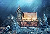 CSFOTO 5x3ft Background for Open Treasure Chest with Bright Gold Underwater Photography Backdrop Box Treasure Chest Adventure Water Wealth Pirate Child Adult Photo Studio Props Polyester Wallpaper
