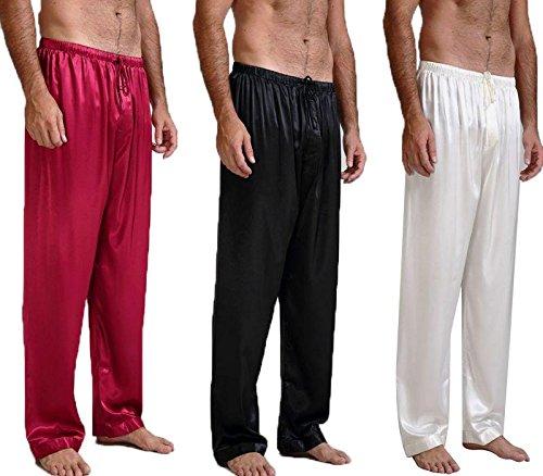 Lonxu Mens Silk Satin Pajamas Pyjamas Pants Sleep Bottoms Free p&p S~4XL
