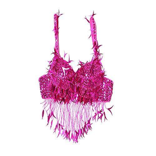 Traje de la danza del vientre Bra Tops Lvory Shape Sequined Fringe disfraz danza del vientre Dancewear Bra Costumes Dark Pink