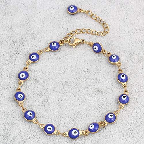 BYyushop Women Ethnic Turkey Evil Eye Enamel Chain Bracelet Cuff Lucky Amulet Jewelry - Blue