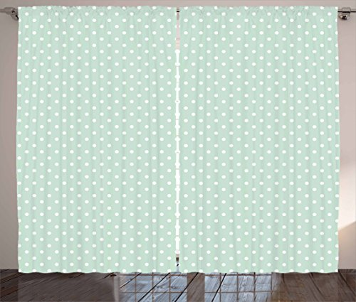(Ambesonne Green Curtains, Retro Style Baby Nursery Themed Pattern with Little White Polka Dots Pastel, Living Room Bedroom Window Drapes 2 Panel Set, 108 W X 63 L inches, Mint Green White)